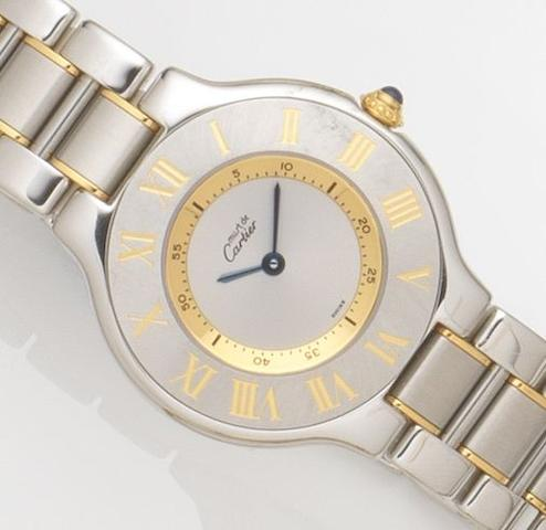 Cartier. A lady's stainless steel quartz bracelet watchMust de Cartier 21, Ref:1330, Case No.PL106945, Circa