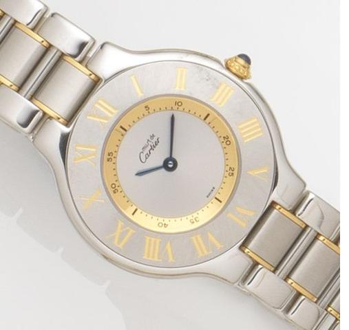 Cartier. A lady's stainless steel quartz bracelet watch Must de Cartier 21, Ref:1330, Case No.PL106945, Circa