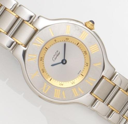 Cartier. A lady's stainless steel quartz bracelet watch Must de Cartier 21, Ref:1330, Case No.PL106945, Circa