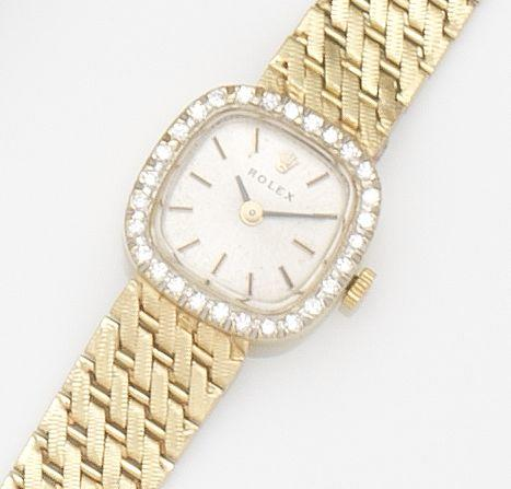 Rolex. A lady's 14ct gold and diamond set manual wind bracelet watchCase No.8366, Circa 1960