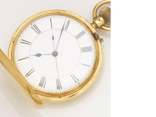Robert Jones & Sons. An 18ct gold keyless wind centre seconds full hunter pocket watch Case and Movement No.13380, London Hallmark for 1878