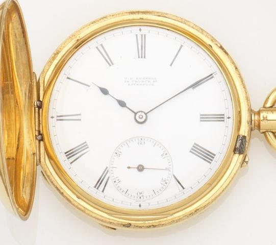 T.R. Russell. An 18ct gold keyless wind half hunter pocket watch Movement No.86657, Chester Hallmark for 1889