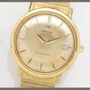 Omega. An 18ct gold automatic calendar bracelet watch Constellation, Case No.235996, Movement No.18327014, Birmingham Hallmark for 1963