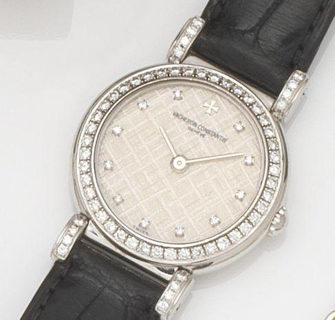 Vacheron Constantin. A lady's 18ct white gold and diamond set manual wind wristwatch Case No.643893, Movement No.833840, Circa 2000