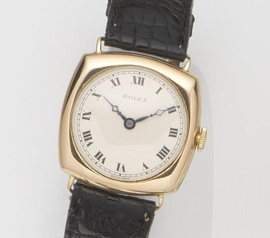 Rolex. A 9ct gold manual wind wristwatchRef:2494, Glasgow Hallmark for 1924