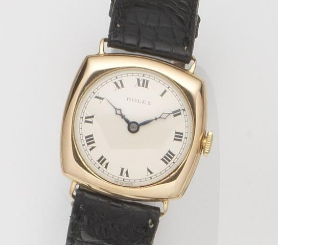 Rolex. A 9ct gold manual wind wristwatch Ref:2494, Glasgow Hallmark for 1924