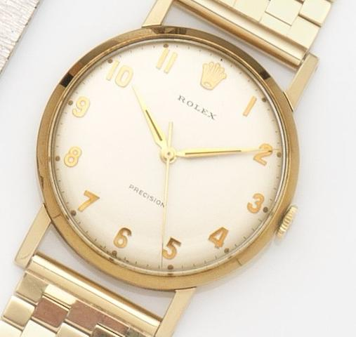 Rolex. A 9ct gold manual wind centre seconds bracelet watchPrecision, Ref:12376, Case No.438207, Birmingham Hallmark for 1965