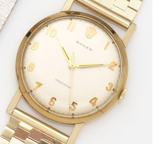 Rolex. A 9ct gold manual wind centre seconds bracelet watch Precision, Ref:12376, Case No.438207, Birmingham Hallmark for 1965