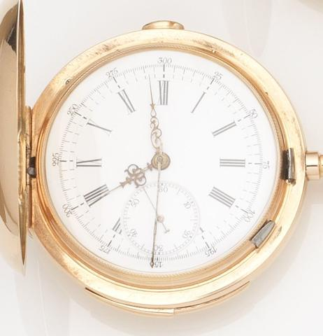 Swiss. A 14ct gold full hunter keyless wind minute repeating chronograph pocket watchMovement No.15833, Case No.13662, Circa 1900