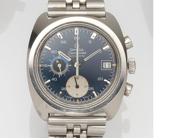 Omega. A stainless steel automatic calendar chronograph bracelet watch Seamaster automatic, Ref:176.001, Movement No.31640538, Circa 1970