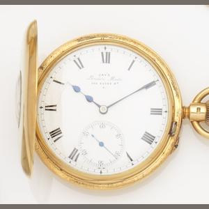 Jay's. An 18ct gold keyless wind half hunter pocket watch Movement No.14694, Circa 1890
