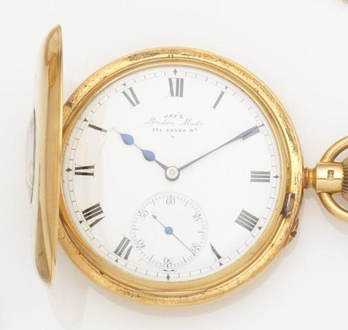 Jay's. An 18ct gold keyless wind half hunter pocket watch Movement No.14694, Circa 1890