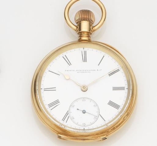 Waltham. An 18ct gold keyless wind open face pocket watchCase No.22054, Movement No.4145092, Retailed by Frisch, Scheirwater & Co, Circa 1890