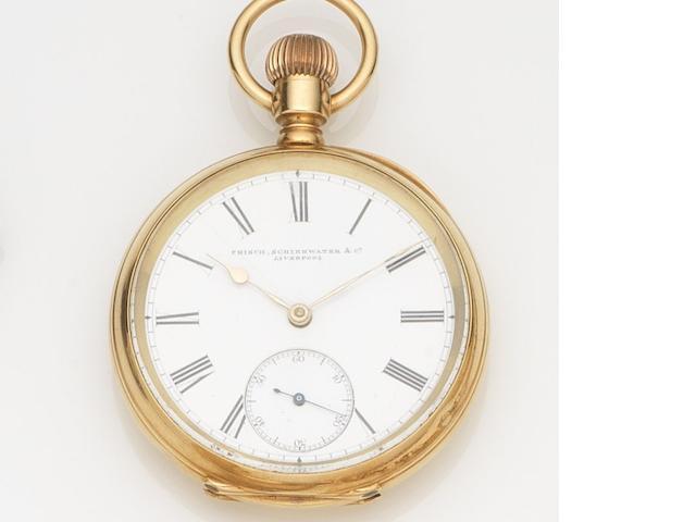 Waltham. An 18ct gold keyless wind open face pocket watch Case No.22054, Movement No.4145092, Retailed by Frisch, Scheirwater & Co, Circa 1890