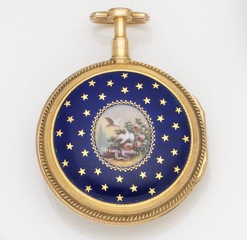 Unsigned. A continental gold open face key wind pocket watch with painted enamel case backCirca 1800