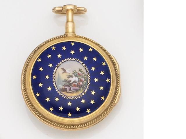 Unsigned. A continental gold open face key wind pocket watch with painted enamel case back Circa 1800