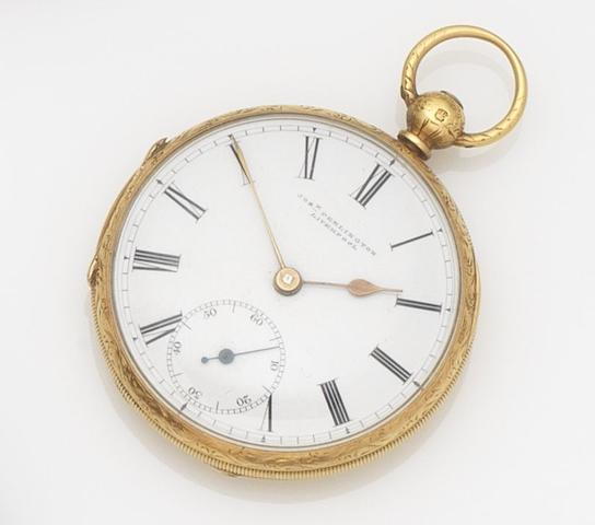 Penlington. An 18ct gold key wind open face pocket watchCase and Movement No.9671, Chester Hallmark for 1857