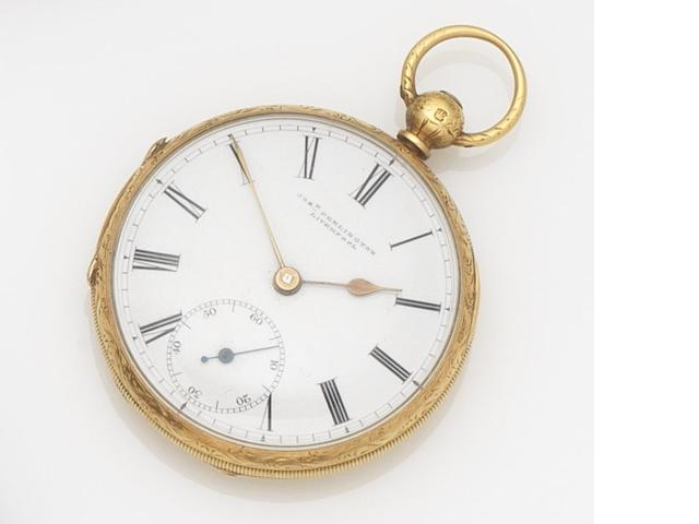 Penlington. An 18ct gold key wind open face pocket watch Case and Movement No.9671, Chester Hallmark for 1857