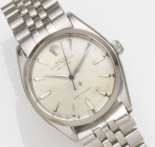 Rolex. A stainless steel automatic bracelet watch Air King, Ref:5500, Case No.844***, Movement No.93***, Circa 1952