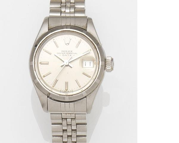 Rolex. A lady's stainless steel automatic calendar bracelet watch Date, Ref:6919, Case No.3875***, Movement No.576**, Circa 1973
