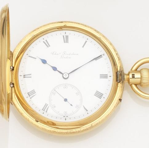 Charles Frodsham. An 18ct gold keyless wind half hunter pocket watchCase and Movement No.010113, London Hallmark for 1916