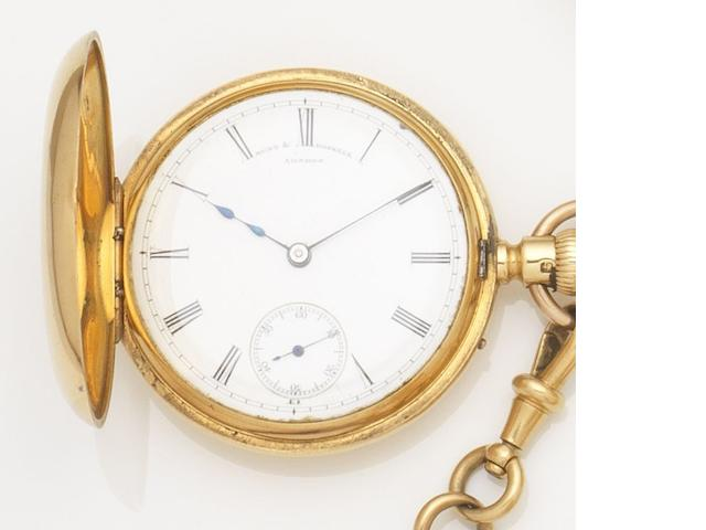 Hunt & Roskell. An 18ct gold keyless wind half hunter pocket watch together with an 18ct gold Albert chain, 9ct gold penknife, 9ct gold pen and two coins Case and Movement No.12731, London Hallmark for 1871