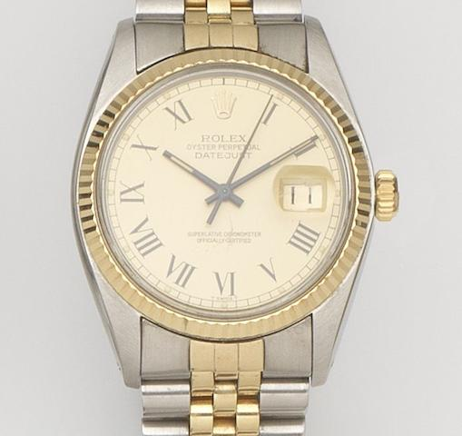 Rolex. A stainless steel and gold automatic calendar bracelet watchDatejust, Ref:16013, Case No.5916***, Movement No.03522*** Sold 20th August 1982