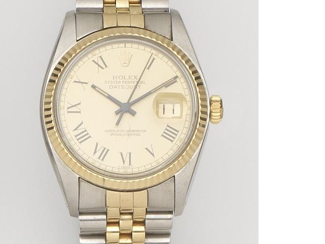 Rolex. A stainless steel and gold automatic calendar bracelet watch Datejust, Ref:16013, Case No.5916***, Movement No.03522*** Sold 20th August 1982