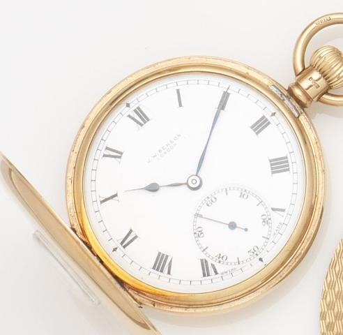 Benson. A 9ct gold keyless wind half hunter pocket watch together with a 9ct gold Albert chain and cigar cutterCase No.433443, Birmingham Hallmark for 1928