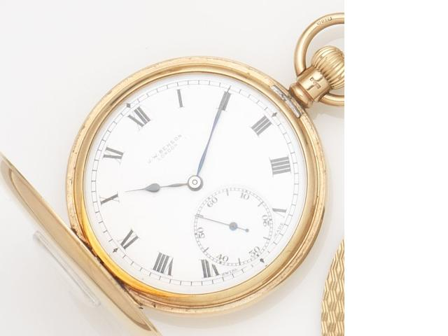 Benson. A 9ct gold keyless wind half hunter pocket watch together with a 9ct gold Albert chain and cigar cutter Case No.433443, Birmingham Hallmark for 1928