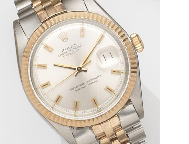 Rolex. A steel and rose gold automatic calendar bracelet watch Datejust, Ref:1601, Case No.2306***, Movement No.D498***, Circa 1969