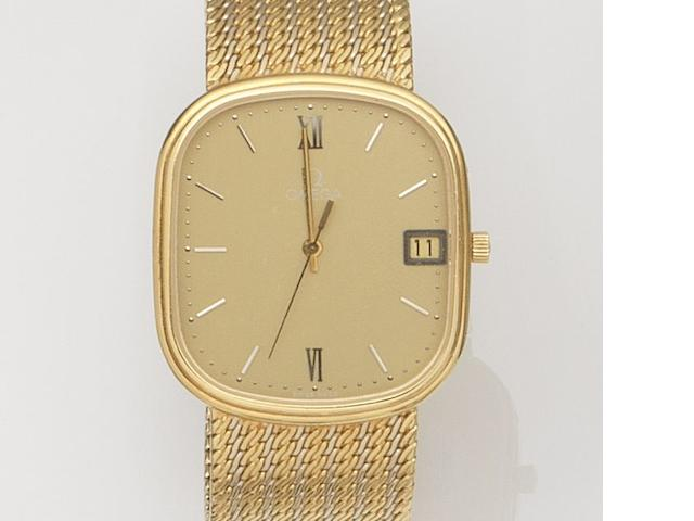 Omega. An 18ct yellow and white gold quartz calendar bracelet watch Ref:192.9231, Circa 1980