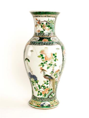 A famille verte baluster vase  Yongzheng six-character mark