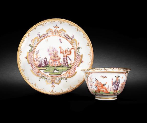 A Meissen Hausmaler teabowl and saucer circa 1720-30