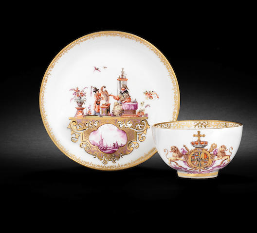 A Meissen teabowl and saucer from the service for the Elector Clemens August of Cologne, dated 1735