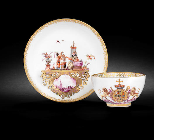 A Meissen teabowl and saucer from the service for the Elector Clemens August of Cologne circa 1735