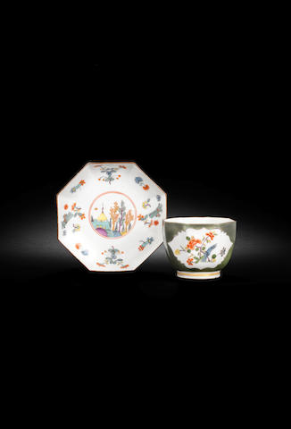 A Meissen octagonal green-ground cup and saucer, circa 1735-40
