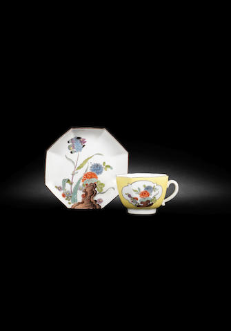 A Meissen octagonal yellow-ground cup and saucer circa 1740