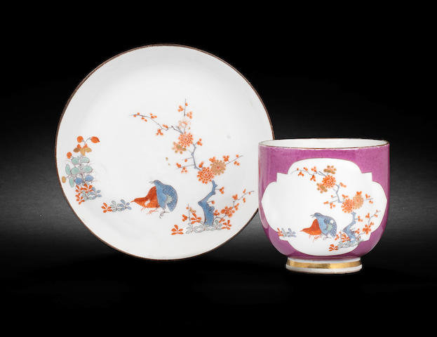 A Meissen purple-ground cup and saucer circa 1738