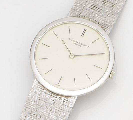 Vacheron Constantin. An 18ct white gold ultra thin manual wind bracelet watch Ref:6352, Case No.416***, Movement No.585***, Circa 1960