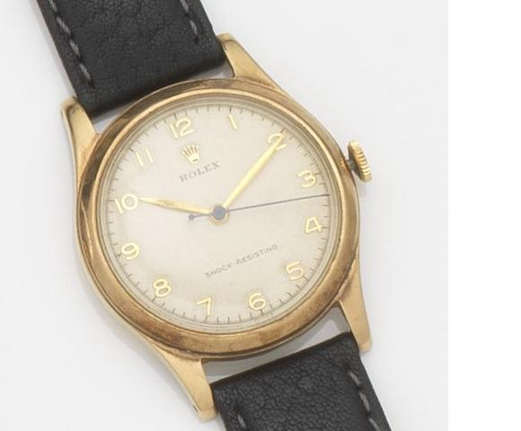 Rolex. A 9ct gold manual wind centre seconds wristwatch Case No.542783, Birmingham Hallmark for 1953
