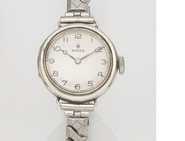 Rolex. A silver cased manual wind bracelet watch Case No.515, London Hallmark 1923