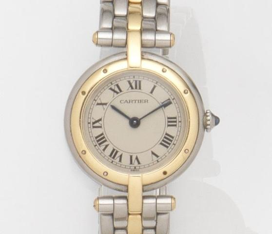 Cartier. A lady's stainless steel and gold quartz bracelet watchVendome, Ref:166920, Case No.26793, Circa 1990