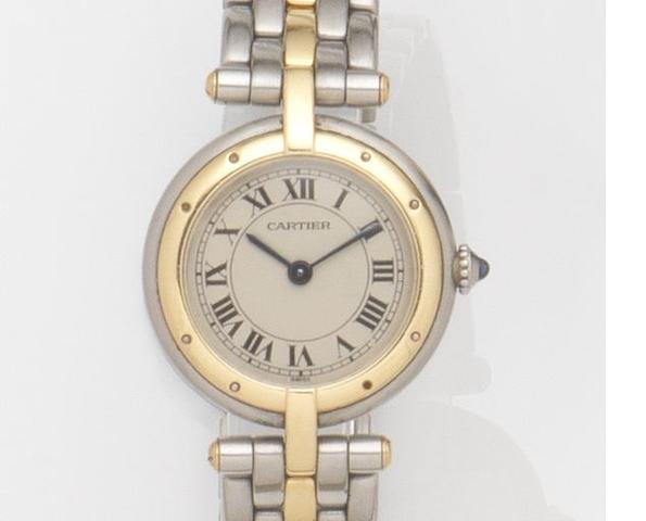 Cartier. A lady's stainless steel and gold quartz bracelet watch Vendome, Ref:166920, Case No.26793, Circa 1990