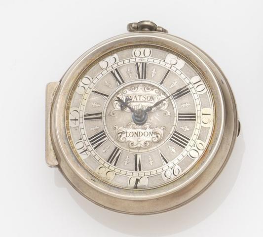 Samuel Watson. An early 18th century silver open face key wind pocket watch Case No.0681, Circa 1710