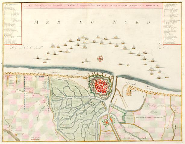 BELGIUM AND FRANCE. OSTENDE--Plan vande Gelegenhyd der Stad Ostende, c.1740, and 3 others (4)