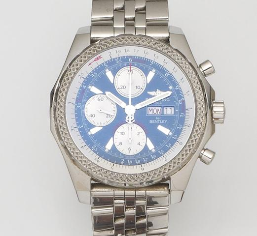 Breitling. A stainless steel oversized automatic calendar chronograph bracelet watchBentley GT, Ref:A13362, Case No.764***, Sold 7th August 2004