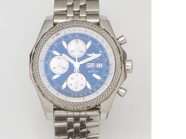 Breitling. A stainless steel oversized automatic calendar chronograph bracelet watch Bentley GT, Ref:A13362, Case No.764***, Sold 7th August 2004
