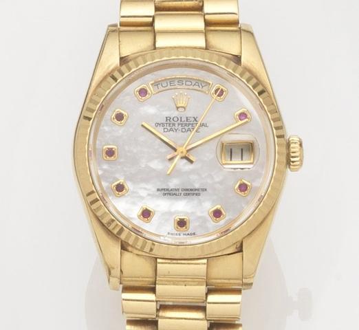 Rolex. An 18ct gold automatic calendar bracelet watch Day-Date, Ref:18238, Case No.E871***, Movement No.5769***, Circa 1990