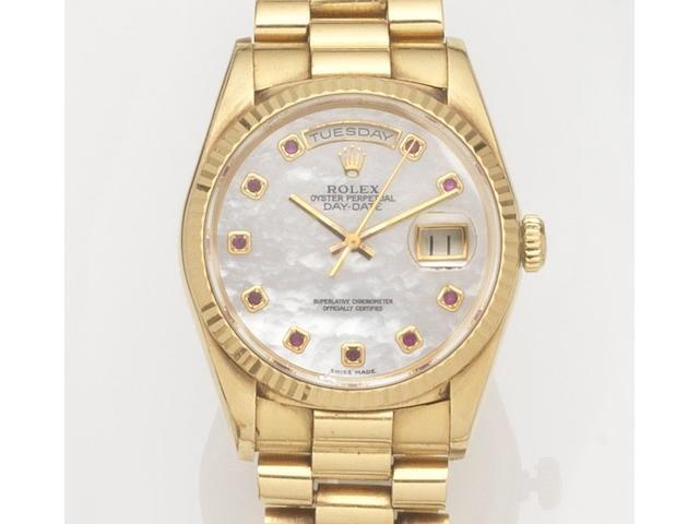 Rolex. An 18ct gold automatic calendar bracelet watchDay-Date, Ref:18238, Case No.E871***, Movement No.5769***, Circa 1990